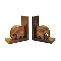 Sujetalibros de madera, forma elefante