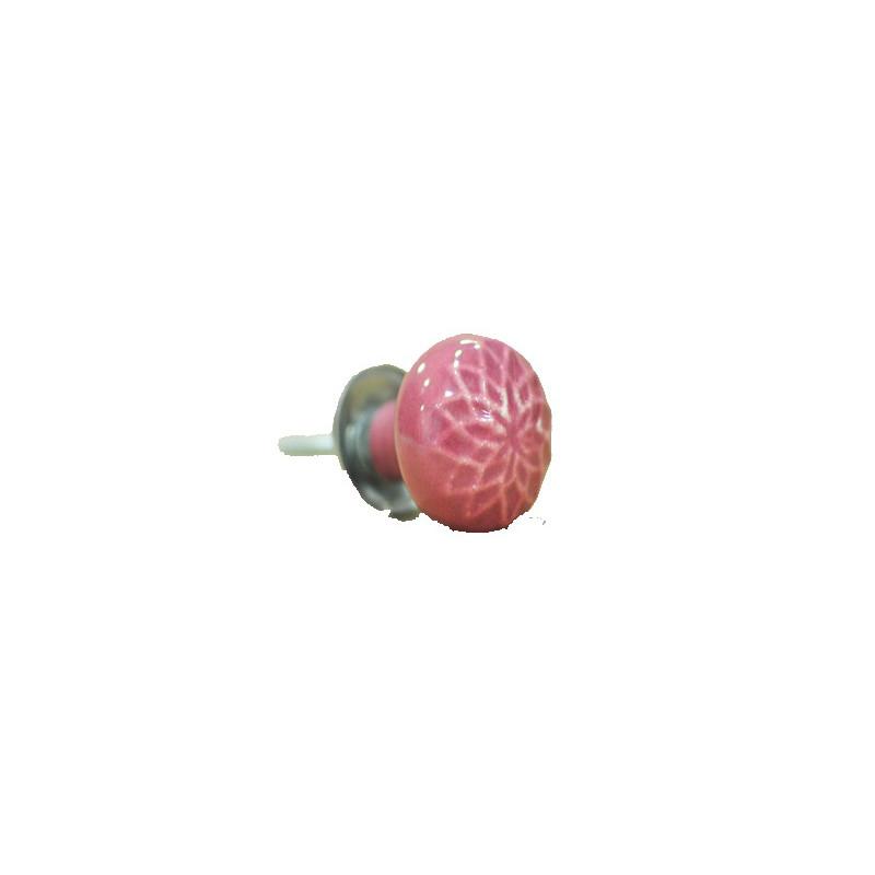 Tirador cerámica artesanal, rosa
