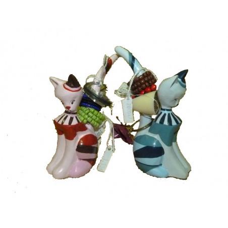 Porta-anillos gato retro, colores surtidos