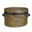 Cesta con tapa fibra natural y negro 30*30*35