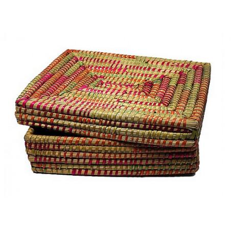 Cesta tapa fibra natural, multicolor 33*40*10cm