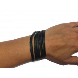 Brazalete tiras cuero negro reciclado