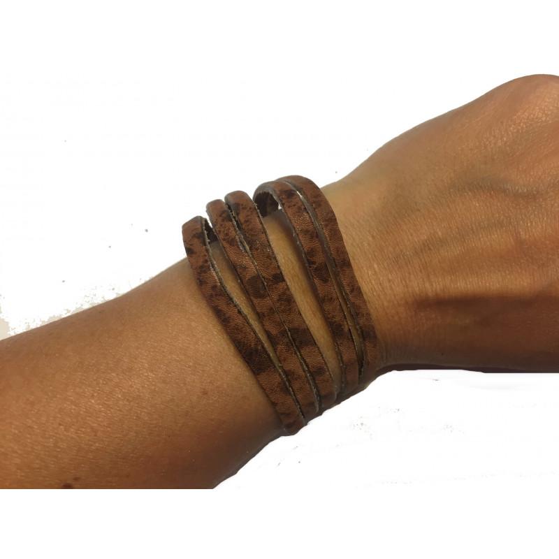 Brazalete tiras cuero marrón envejecido reciclado