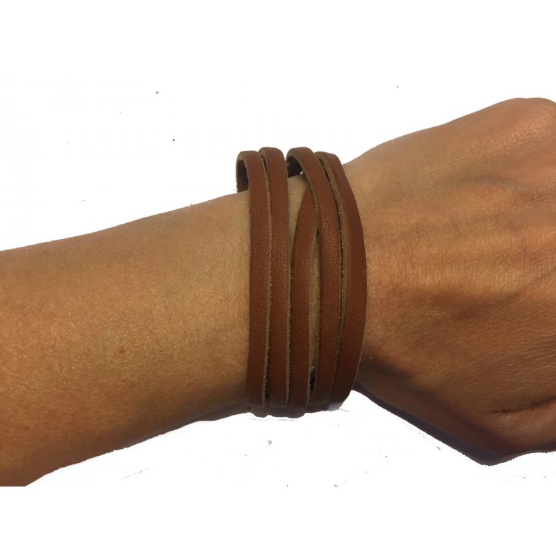 Brazalete tiras cuero marrón reciclado