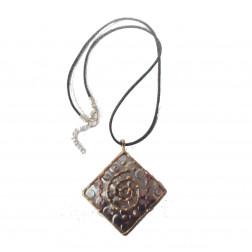 Colgante cuadrado acero, decoración latón y cobre