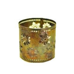 Base para vela en hierro, copos de nieve, 9*8 cm
