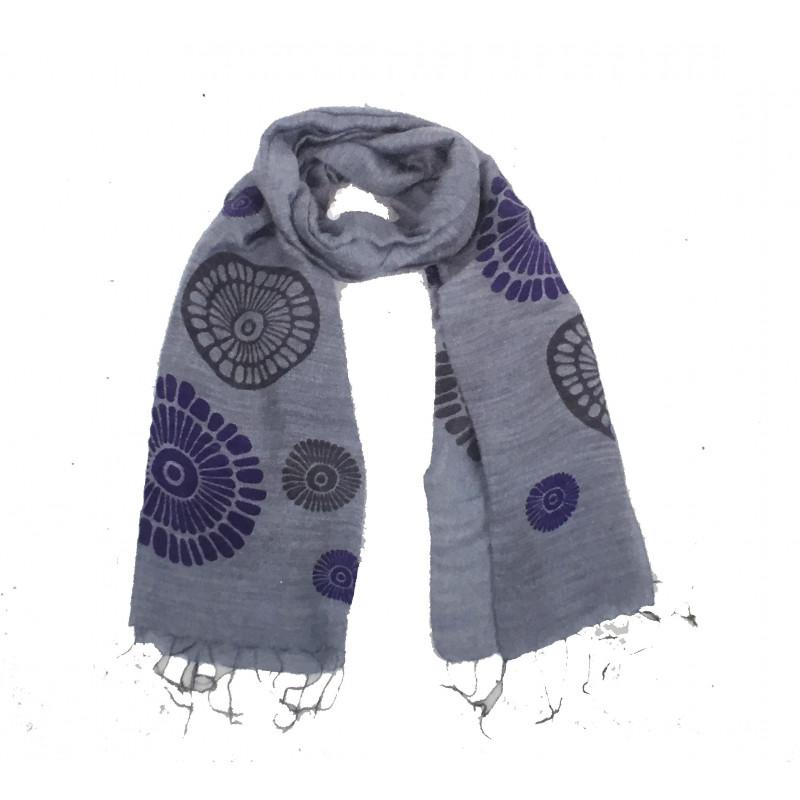 Pañuelo gris mandalas, viscosa y seda 60*180cm