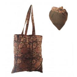 Bolsa tela con bolsito corazón color olivo