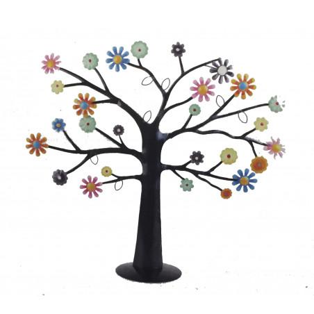 Arbol sujeta-joyas hierro, flores 42 cm h