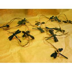 Móvil, libélulas de yute natural y verde turquesa
