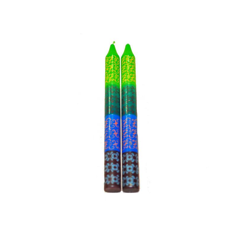 Set 2 velas pintadas, verde,, azul y granate - 22cm