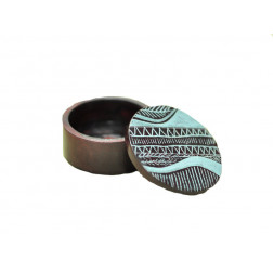 Cajita redonda piedra, tallada - 6.5 cm