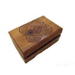 Caja madera tallada a mano, 15*10*6cm