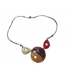 Collar esmaltado de cobre tipo medallón