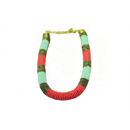 Collar perlas cristal - rojo, verde, negro
