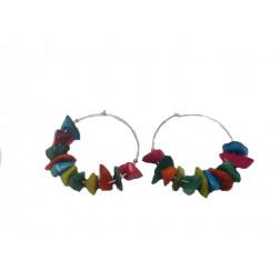 Pendientes-aros metal y tagua multicolor