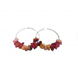 Pendientes-aros metal y tagua rojos/rosa