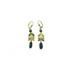 Pendientes dorados con cristal azul, 6 cm