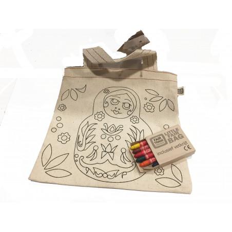 Bolsita de algodón BIO con crayones de cera 24*25cm