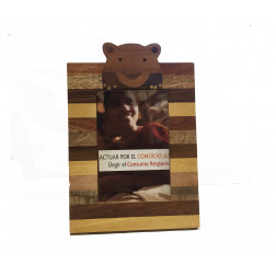 Marco foto de madera, figura oso