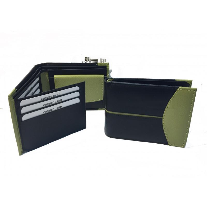 Cartera modelo convencional, verde/negra