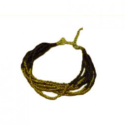Pulsera ajustable de coralina dorada/negra