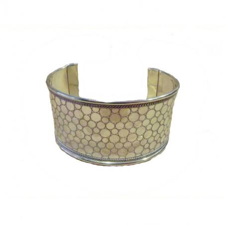 Brazalete metal círculos grabados y borde trenzado