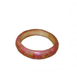 Pulsera madera, hilo rosa, resina