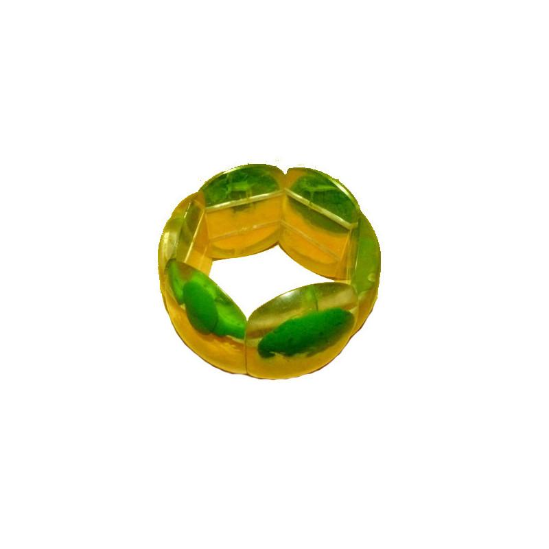 Pulsera de resina, verde y amarilla