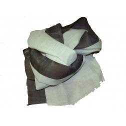 Chal lino beige y marrón 180*80cm