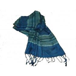 Pañuelo viscosa, rayas azules y verdes