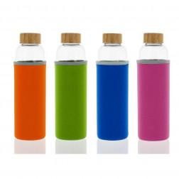 Botella vidrio 550ml, tapón de madera (con funda protectora)