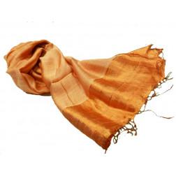 Pañuelo seda y lino tierra, borde brillante