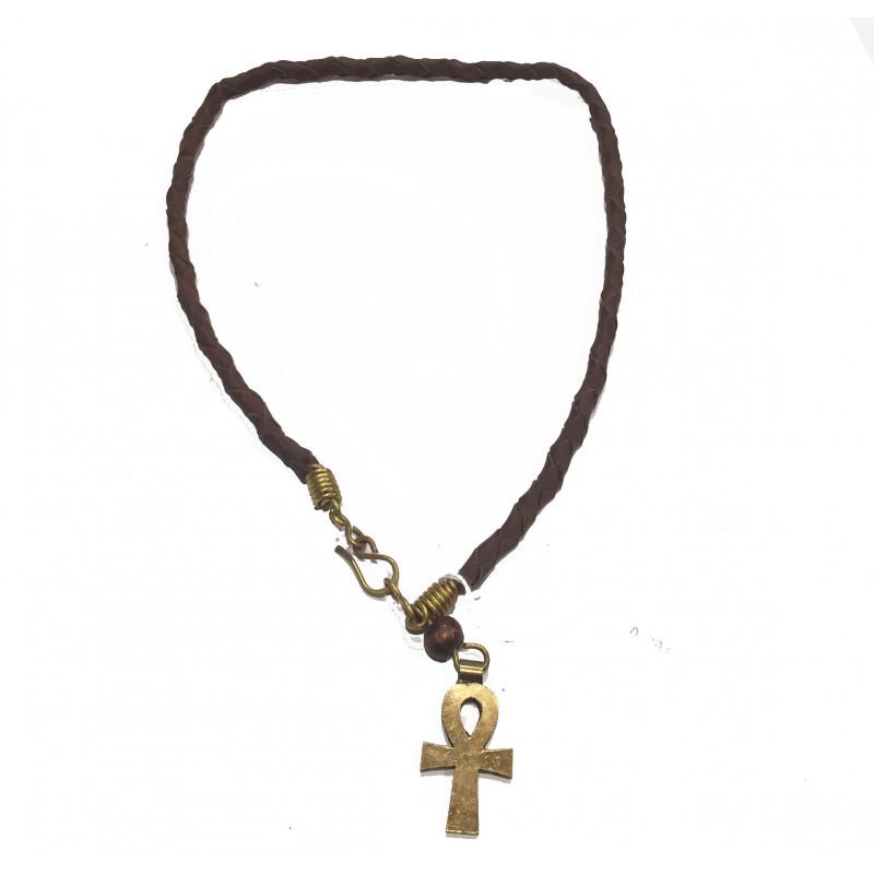 Collar cuero y latón cruz egipcia
