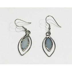 Pendientes doble gota azul y metal