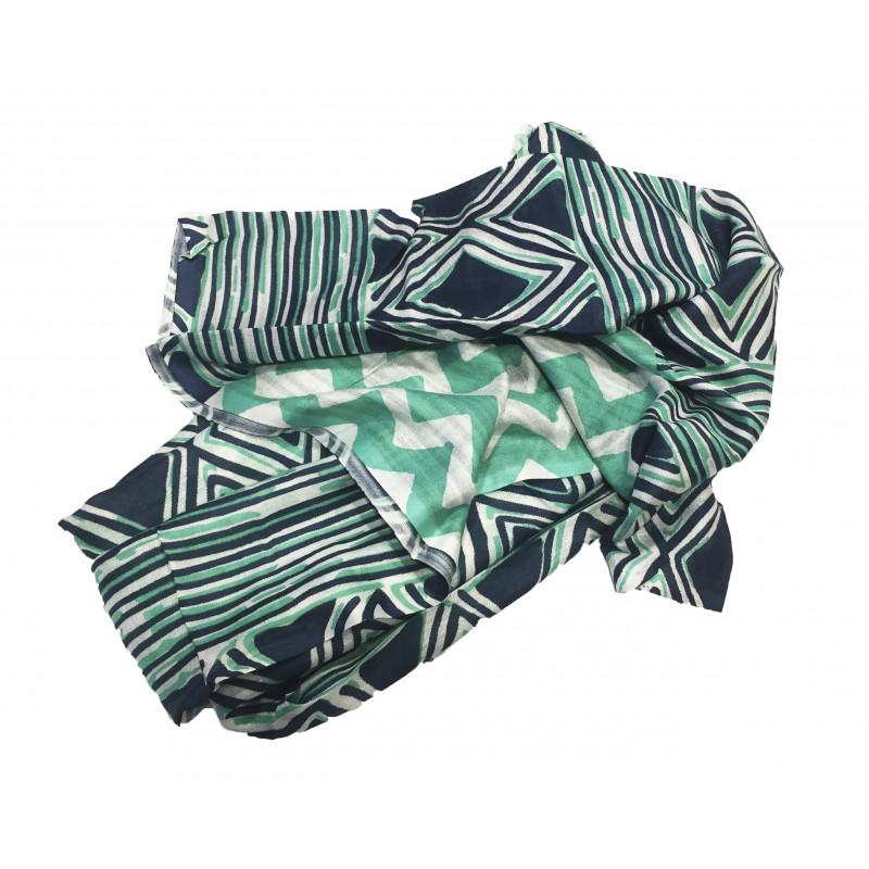 Pañuelo rombos verdes y azules 70*180cm