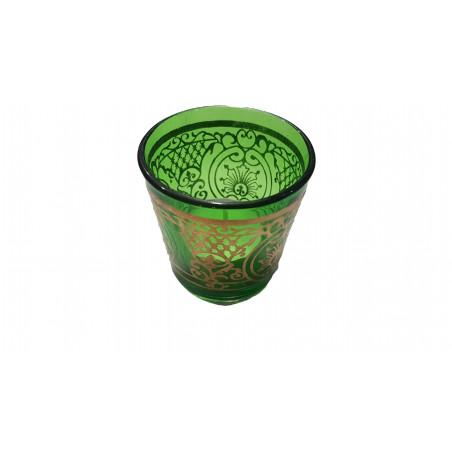 Portavelas vidrio verde