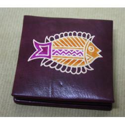 Monedero cuadrado piel pez