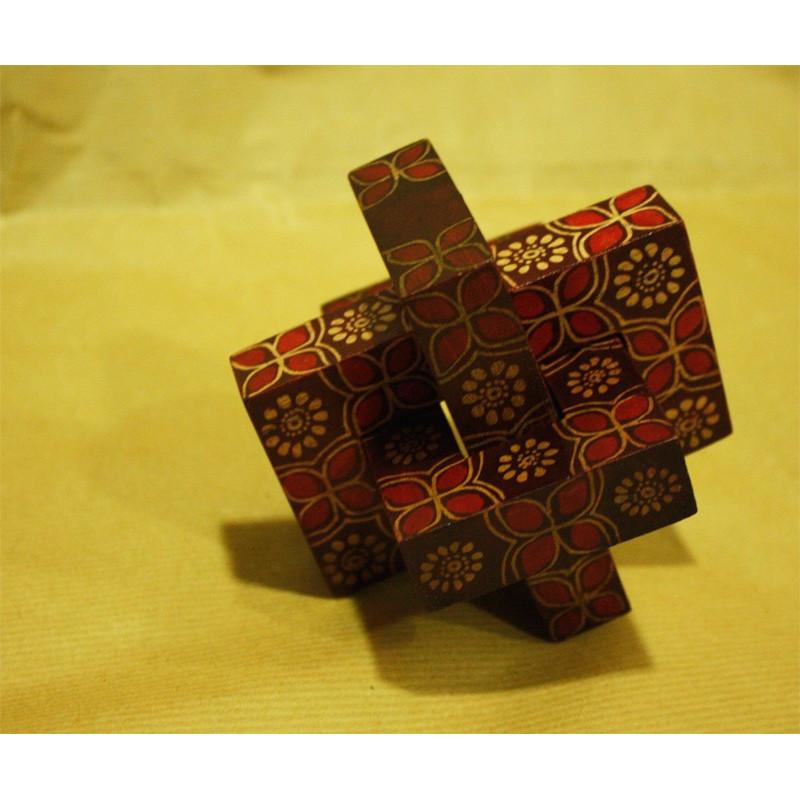 Puzzle teka cuadrado diseño flores Kawung