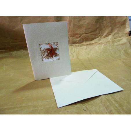 Tarjeta de Navidad, papel artesanal blanco