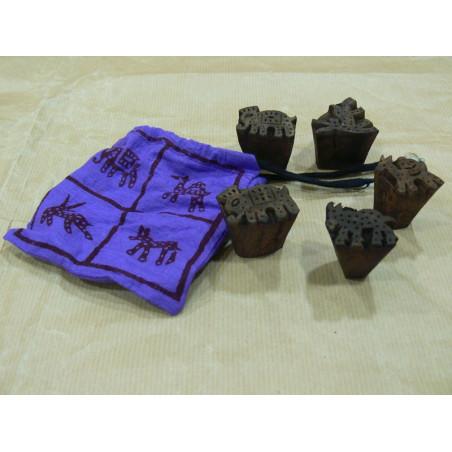 Set de 4 blocks de madera para imprimir, bolsa malva.